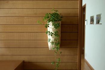 壁掛けのフラワーベースにぴったりな縦長のかごもあります。