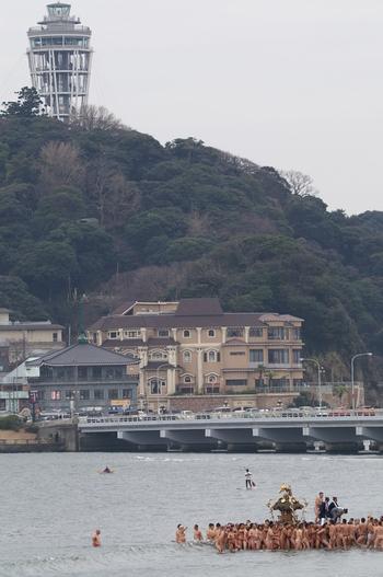 江の島を背景に、1月の海の中をお神輿が威勢よく進む様子は全国的にも珍しい行事なのです。冬のこの時期の風物詩として見逃せません。