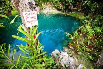 バヌアツのブルーホール。  ジャングルの中にぽっかりと穴が空いたようです。 グリーンとコバルトブルーの色合いがあまりに美しく、うっとりしてしまいます。