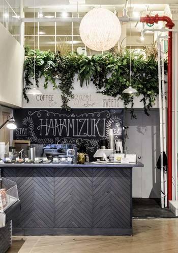 こちらはカフェの空間演出を手掛けたもの。 グリーンの存在感も大切にしつつ、ブランドの方向性を第一に考えたスタイリングを行っているそう。