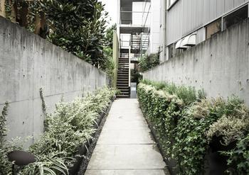 こんな通路を手がけることも。何も特徴も無かったはずの通り道が、川本さんの手にかかれば雰囲気ある空間に。