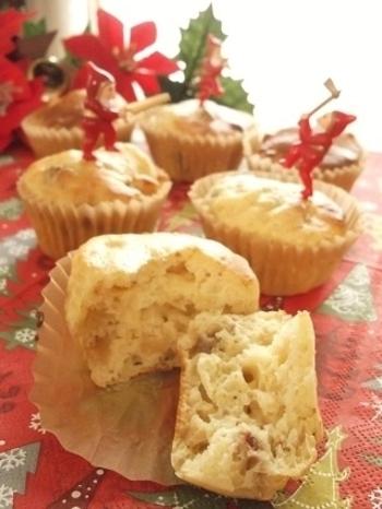 ドライフルーツの甘味を生かしたカップケーキ。ノンオイルでとってもヘルシーなスイーツレシピです♪