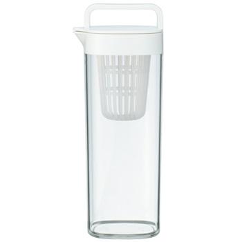 アクリルタイプの水筒。容器は持ちやすい設計になっていて、ねじ式で取外し簡単な水出しお茶パック入れが付属しています。たて置き・よこ置きも可能です!