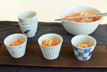 食卓の小鉢として。残り物のおかずや作りおきのお惣菜も、こんな風に盛り付ければオシャレな一品へと変身!