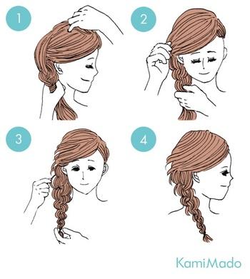 毛束をサイドに寄せ、襟足まで編み込みをしたら、その先は三つ編みに。 トップはふんわりルーズなイメージに。前髪は編み込んだ側に寄せてピンでとめ、編み込んだ毛束を少し緩ませて完成です。