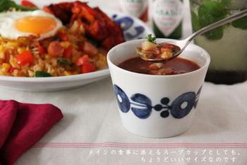 どっしりとした安定感で口が広い蕎麦猪口は、スープカップとしても活躍します。大きすぎないサイズが、絶妙な使い勝手なんです!
