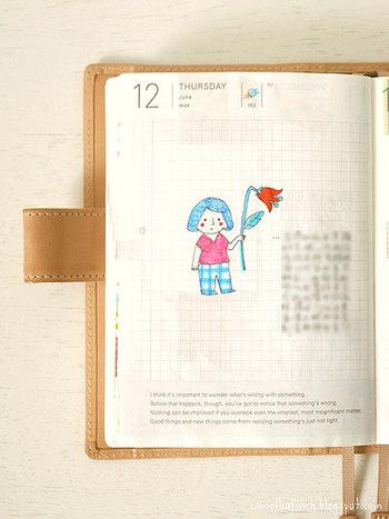 日記をつけたいけれど文章を書くのが苦手という方は、イラストを添えてみては?挿絵のようなワンポイントのものでも、しっかり記憶に刻まれますよ。