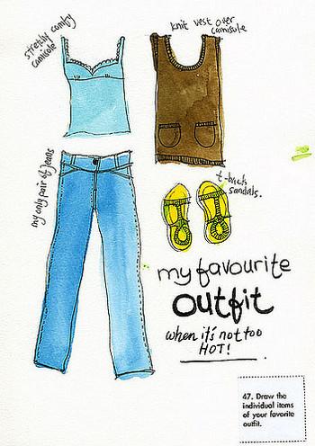 その日のコーディネートをイラストで記載。ワードローブを把握したり、出番の少ない洋服がすぐに分かるので、衣類の断捨離にも活用できます。