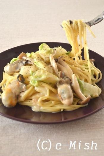 豆乳と味噌を使ってこっくり仕上げた、牡蠣と白菜のパスタです。白菜も牡蠣も今が旬、旬の美味しさを閉じ込めたパスタ、是非試してみてくださいね。