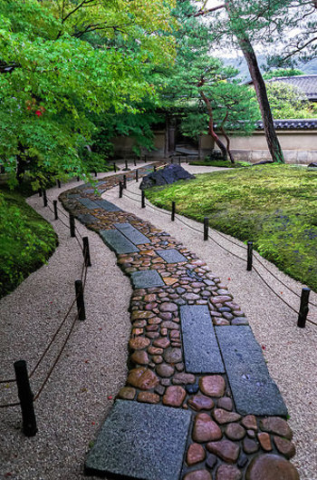 楓と苔の新緑が冴え冴えと美しい、寿立庵へと続く石畳の道。