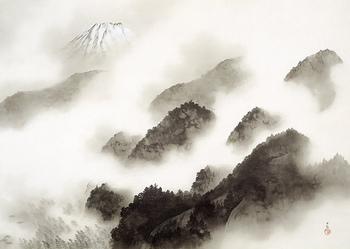 【画像は、横山大観の水墨画の大傑作。『雨霽る(あめはる)』昭和15年(1940)】