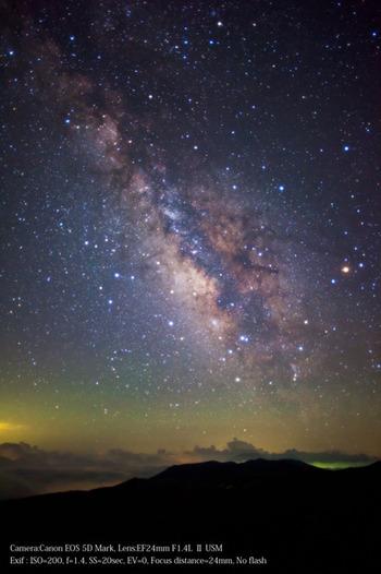 白根山の上に輝く満天の星たち。
