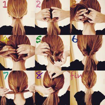 1.ゴムで1つに結びます。 2.縛った上の部分を中指、薬指、小指で半分に割ります。 3.親指、人差し指で毛先を上に押し上げます。 4.押し上げた毛先を2の割った部分に押し込みます。 5.毛先が割った部分を押し込んで入ってきたら下から毛先を引っ張り出します。 6.すべての毛先を通し切ります。 7.通したら、毛先を左右に引っ張ります。 8.縛ったゴムの部分を片手で押さえながら表面の毛を摘んで引き出します。 9.バランスを調整してほぐして完成です!