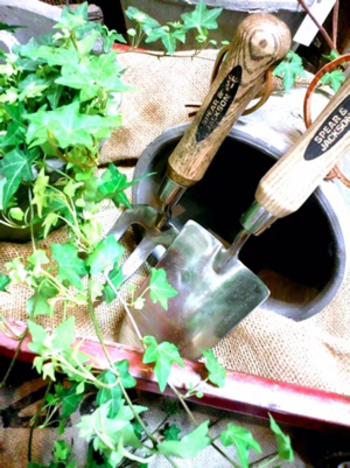 スコップ&ハンドフォーク。家庭菜園だけではなく、ガーデニングのには無くてはならないアイテム。最近ではカラフルな柄の物など種類も豊富なので、お気に入りの物を探してみて下さいね。
