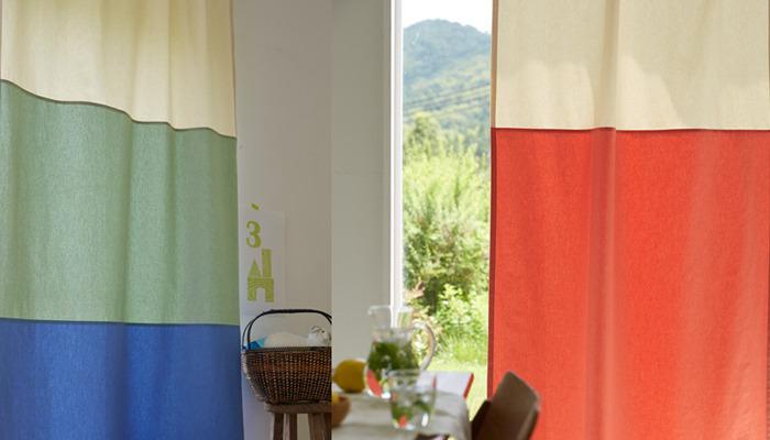 まるでテントや秘密基地にいるようでワクワクしてきますね。部屋に入る度に視界に入りやすいカーテンは、元気の出る好きな色をチョイス。麻100%・綿100%・遮光と3種類からお好みに合わせてお選びいただけます。