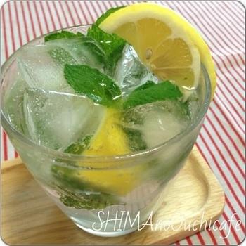 レモンとミントで爽やかさUP!清涼感いっぱいで夏にぴったり。ミントの葉やレモンはお好みで調節して、楽しんでみて下さいね。