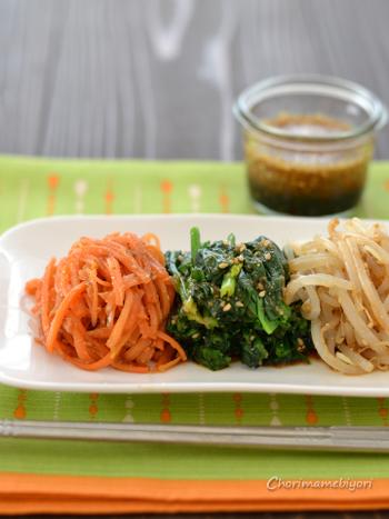 「万能ナムルだれ・野菜のナムル」で紹介されているタレは、もやし以外の野菜にも合わせてもOKです。 野菜をたっぷりといただきたい日に◎
