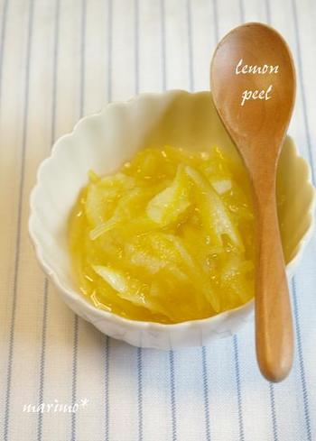 水なしでコトコト煮込んだやわらかいレモンピール。美味しさギュット凝縮です♪レモン以外の柑橘でも是非作ってみて!