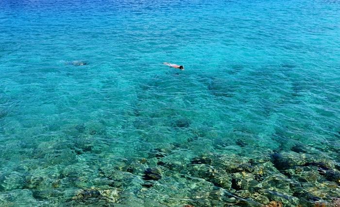 小笠原諸島でシュノーケリング中。この透明度、圧巻です。