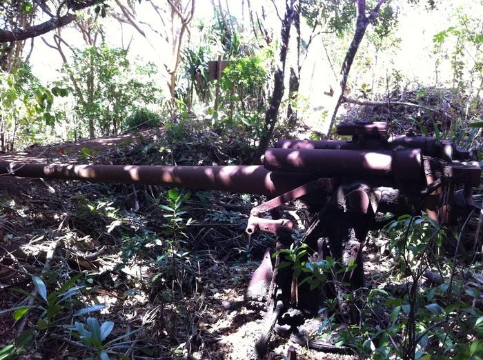 硫黄島を初め、小笠原諸島は太平洋戦争時に戦場となったため、母島にも大砲や防空壕などの戦跡があります。