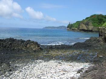 御幸之浜。1927年に昭和天皇がここで生物採集をしたことから名前が付けられました。 サンゴがきれいでシュノーケリングを楽しめる他、「貨幣石」という化石を見ることもできます。