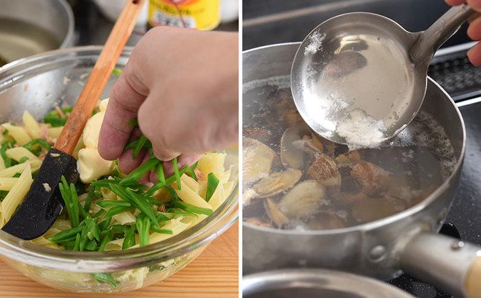 マカロニに「ツナ缶」と「ピーマン」を合わせるのが、冨田さんの定番マカロニサラダ。意外な組み合わせですが、ちょっぴり和風の味付けとよく合い、新鮮な美味しさです。今回は、旬の食材の絹さやも加えて、春らしさもアップ。  お吸い物は、砂抜きしたあさりと昆布を水からじっくり煮出します。アクをしっかりとりながら、あさりのうまみをたっぷりと引き出した出汁に、調味料を少々。仕上げに三つ葉をちらせばグッと華やかな印象になります。