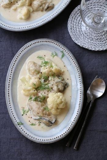 ホワイトが美しい、カリフラワーと牡蠣のクリームソース。ソースを多めに作ってフランスパンに絡めても美味しいですよ。白ワインやスパークリングワインに合う、見た目もおしゃれなレシピです。