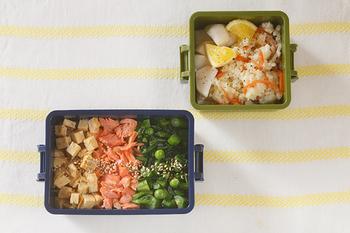 三好製作所のGEL-COOLランチボックス。保冷剤と蓋が一体化しているので、暑い日のお弁当の持ち運びにとっても便利ですね。