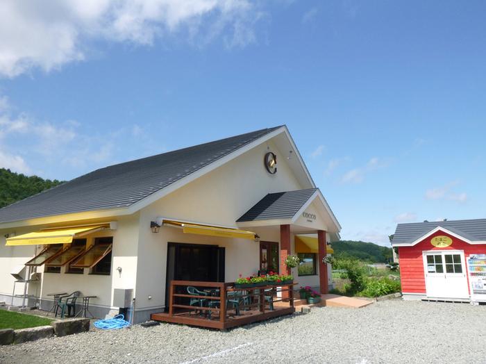 プリンやシフォンケーキなどのスイーツが人気の、平飼い有精卵農家「永光農園」。2014年にカフェをオープン。明るい陽ざしがあふれる店内で、スイーツやランチをいただけます♡