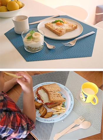 スウェーデン発のスタイリッシュな雑貨ブランド【By May(バイメイ)】。パターンや色、素材にこだわったユニークなアイテムを生み出しているブランドです。  6角形のプレイスマットはそれだけでスタイリッシュ。さらにお手入れの簡単・食器も滑りにくいシリコン素材なので、お子さまのいるご家庭への贈り物にもおすすめです。