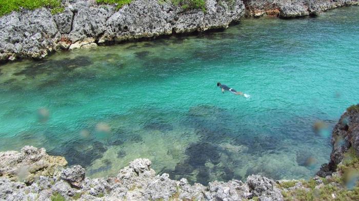 """同じく南島の鮫池。名前の由来は「ネムリブカ」という鮫が住んでいることによります。""""ネムリ""""という名のとおり大人しい鮫なので、基本的にこちらからちょっかいを出さない限りは襲ってこないそうです。"""
