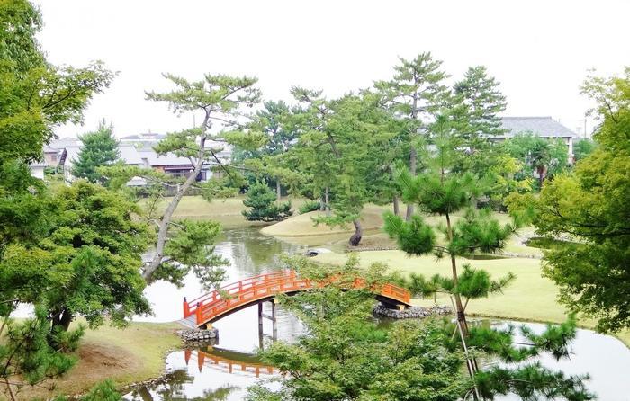 名勝に指定されている「旧大乗院庭園」。銀閣寺の庭園を手がけた、作庭の名手・善阿弥が改造に関わっています。平安時代から鎌倉時代にかけて造られた「浄土式庭園」の様式で、中世の遺構を残す貴重な庭園です。