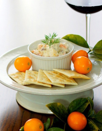 金柑のみじん切りが入ったディップは、金柑ととても合うクリームチーズやハチミツ、ナッツが入っていて、ワインのおつまみに良く合います。