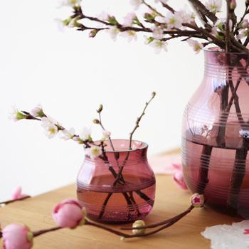 梅や桜など枝ものを活けるときは、つぼみのうちから飾りはじめると花開く様子も眺めることができます。リビングに飾ってお花見ティータイムなんていうのも粋ですね。