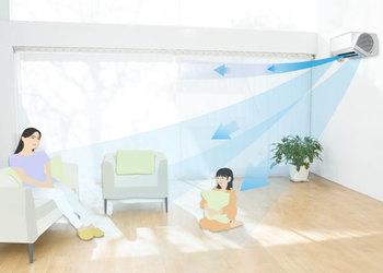 【涼感アップモード】では、設定温度到達後も、「デュアルブラスター」の室温の自然な風が身体にあたることで、「より涼しく」感じられます。冷房特有の冷たい風が苦手な人や、設定温度を控えたい時にも効果的です。