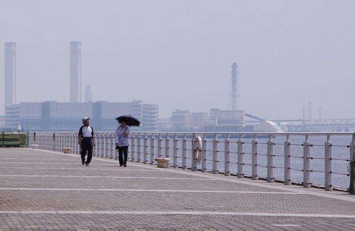 臨港パークと似た作りの緩やかな海岸線。赤レンガ倉庫まで続いており、お散歩やランニングにもおすすめのコースです。