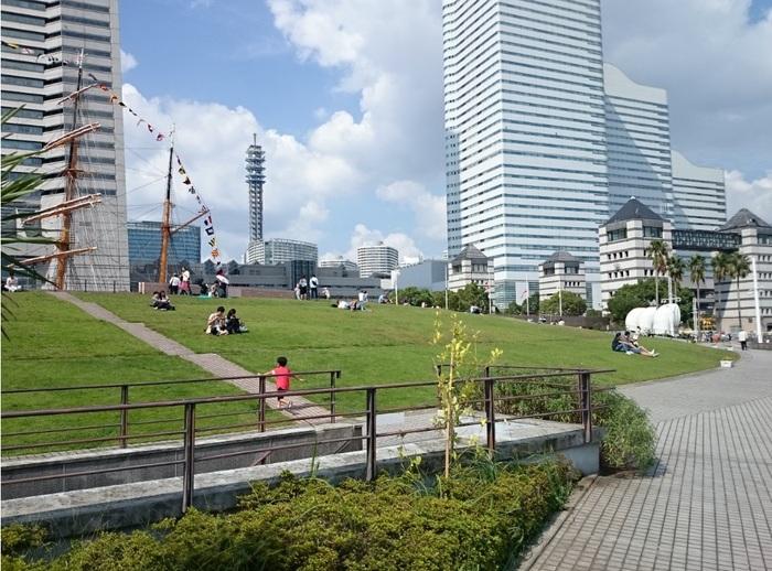 緩やかな傾斜の緑が広がる芝生は、ごろんと横になるのに最適!