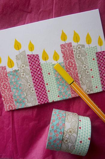 マステをロウソクに見立てたユニークなバースデーカード。マステを貼って火を描くだけなのでとっても簡単!ロウソクはそれぞれ違う柄のマステを使うと綺麗に仕上がります。お子さんと一緒に作っても楽しそうですね。