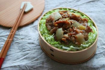 丸型を使ったのっけ弁は、まるで定食屋さんの丼もののよう。まわりにキャベツなどの緑や鮮やかな色味をプラスすると、メインが引き立ってより食欲をそそる美味しそうなお弁当になりますよ。
