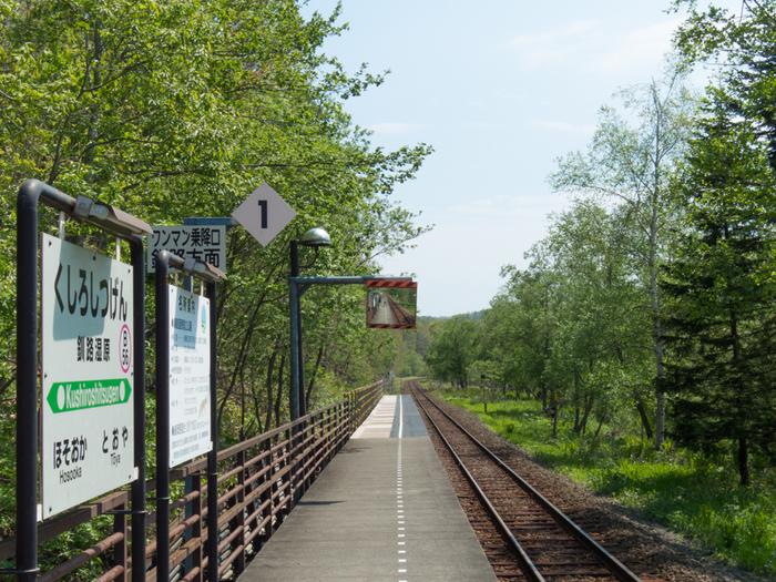 釧路湿原駅は、国の天然記念物に指定されている釧路湿原の中にある、片面ホームの小さな無人駅です。