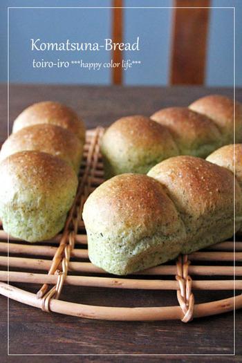 緑色がとっても爽やかで、朝食にピッタリのパンです!小松菜のクセがほとんど出ないそうだから、お子様の野菜嫌い対策にコッソリ♪