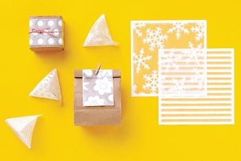 例えば包装紙の上に巻いて、透け感の装飾を施したり、テトラ型に折って中に小物やお菓子を入れたり・・・いろんな使い方ができそうです!
