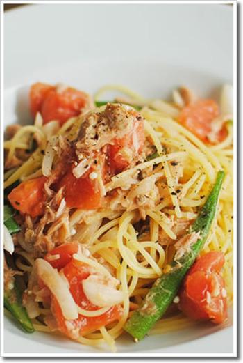 スパゲティーニの細さは、冷製パスタにぴったり。トマトは完熟のものを使うのが美味しく仕上げるポイントです。