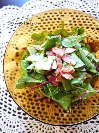 鮮やかな緑が食欲をそそる、ベビーリーフのサラダ。ベーコンとの相性も抜群! ミニキッチンガーデンでちょっと摘んで、新鮮さそのまま食卓に。