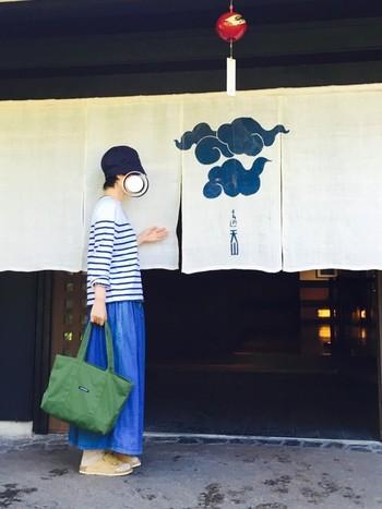 白×青の夏コーデ。