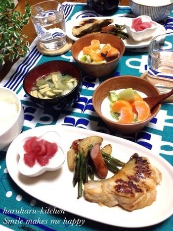 タラの味噌漬け焼きの豪華な朝食。大事な日の朝は、こんな素敵な朝食で元気をチャージしたいですね。