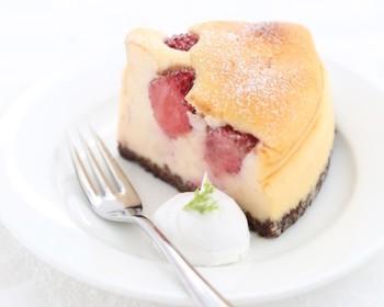 お店の人気No.1とされているのは、「丸ごと苺のチーズケーキ」。クリームチーズ以外は全て国産素材というこだわりのスイーツです。土台には特製のチョコクランチが使用されています。