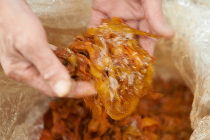 干し柿を作る食品会社から届いた、柿の皮。国内各地のメーカーや工場の協力があって「のこり染」の製品が生まれます。