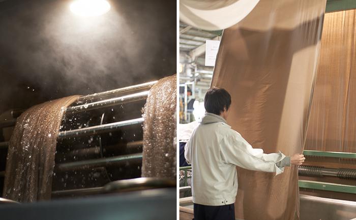 工場には大きな染色機が何台もあり、ところどころ人の手が加わり染め上がります。「KURAKIN」の各アイテムは、まず生地の状態で染め、裁断・縫製を経て製品となります。