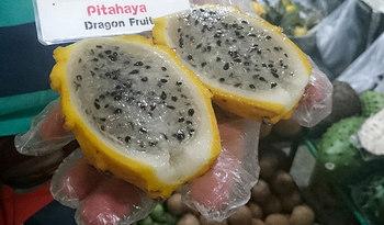 黄色い果皮に、半透明白色の果肉の「イエローピタヤ」は、ホワイトやレッドよりも甘く、酸味はありません。